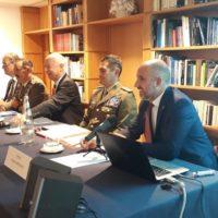 Nella foto: il Generale Figliuolo, l'Ambasciatore Aleseandro Minuto Rizzo, il Capo di Stato Maggiore dell'Esercito, Generale Farina e Alessandro Politi